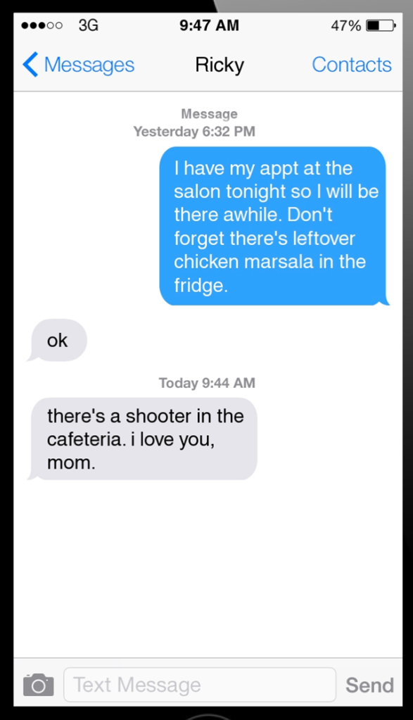 """This image is a screen shot from a phone screen. It displays a conversation between Ricky and his mother. There is a time stamp from the previous day at 6:32PM where the mother said, """"I have my appt at the salon tonight so I will be there awhile. Don't forget there's leftover chicken marsala in the fridge."""" Ricky responds with """"OK."""" Then, there is a new message sent at 'today at 9:44AM' where Ricky texted, """"There's a shooter in the cafeteria. I love you, Mom."""""""